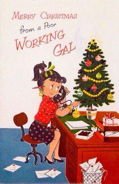 #755 50s NORCROSS-GLITTER-Office Secretary-Rotary Telephone-Vtg Christmas Card