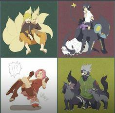 Kakashi, Naruto, Sakura & Sasuke (Team Kakashi / Team - with Pokemon Naruto Uzumaki, Anime Naruto, Naruto Fan Art, Naruto Sasuke Sakura, Naruto Comic, Naruto Cute, Manga Anime, Kakashi, Naruhina