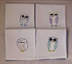 Embroidered Owl Napkins - I would be afraid to use them. Make them to frame and hang on the wall?