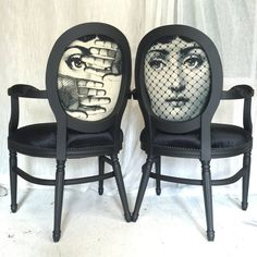 Pair of matte black armchairs upholstered in black velvet and Fornasetti-inspired fabric. L24 W25 H38.5 floor to cushion 17, floor to arms 27 *follow our projects on Instagram: @Skinndd