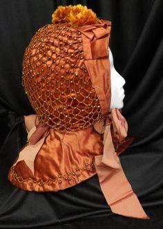 RARE ORIG ANTIQUE VICTORIAN CIVIL WAR FANCY QUILT WINTER SATIN BEADED BONNET HAT #bonnet
