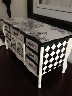 Antique Jewelry Box Up-cycled  Hand Painted & decoupaged in Toile  - idea for the jewelry box I got at thrift store.