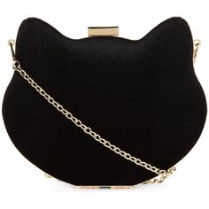 New Look Black Cat Box Clutch Bag ($21) ❤ liked on Polyvore featuring bags, handbags, clutches, black, box clutch, hard clutch, kisslock purse, chain handle handbags and kiss lock handbags