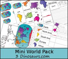 Maps & Globes activities with a FREE Mini World Pack (homeschool, preschool… Continents Activities, Geography Activities, Geography For Kids, Geography Map, Teaching Geography, World Geography, Learning Activities, 7 Continents, Kindergarten Social Studies