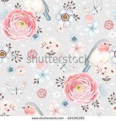 stock-vector-seamless-pattern-with-birds-robin-butterflies-pink-ranunculus-and-small-flowers-in-vintage-424291285.jpg (450×470)