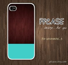 Dark wood with blue Pattern  Handmade Case for Iphone by pfcases, $15.89