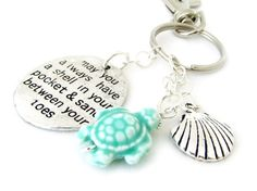 Turtle Keychain Turtle Key Chain Shell by EarthlieTreasures