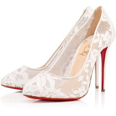 Christian Louboutin Dorissima Lace featuring polyvore, fashion, shoes, heels, christian louboutin, louboutin, ivory, round cap, high heel shoes, ivory shoes and lacy shoes