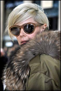 Kate Lanphear glasses, fur jacket, platinum blonde