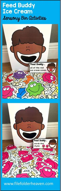 These Feed Buddy Ice Cream Activities are a GREAT addition to Summer, Ice Cream or Picnic themed sensory bins! There are so many ways to use this Feed Buddy Set. I have left it very open ended so that you can target the skills you need to target in a small group setting. I have also included instruction cards for each set so that you can set the activity up as an independent center, and/or sensory bin activity.
