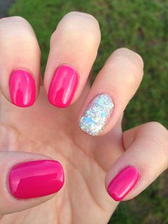 Shellac nails - pink bikini with very sparkly tinkerbell glitter.