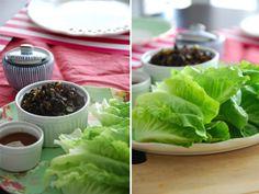 Lettuce Wraps de arroz yamaní y frijoles adzuki
