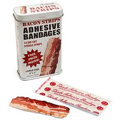 In the olden days (at least, from what we learned from cartoons), when someone got a black eye, the best remedy was to put a steak on it. Imagine that: curing (get it?) a wound with meat! We've always thought bacon was the balm for any emotional wound, and now it can help physical ones as well! Introducing Bacon Strips Adhesive Bandages!