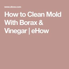 How to Clean Mold With Borax & Vinegar | eHow