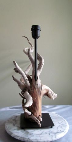 18 Driftwood Root Ball Table Lamp with Black by DriftingConcepts