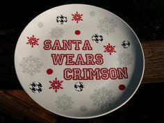 Santa wears crimson cookie plate   Roll Tide by AmericanDecal, $15.00