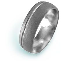 This 6mm domed, sandblasted titanium wedding band features a 1mm off-set groove.  A comfort-fit titanium wedding band! Click on the picture for more info. 5, 7