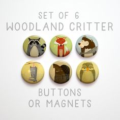 Woodland Creature Buttons 1 inch or Magnets Set of от johnwgolden