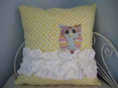 Owl and Ruffle Pillow Cover -Owl in the Clouds by Lovie Birds on Etsy