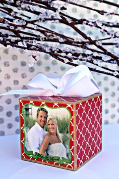Christmas Wedding Custom Personalized Photo Block Ornament Red Green Gift. $20.00, via Etsy.
