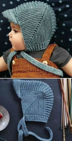 Vintage Baby Bonnet With Visor - Free Knitting Pattern (Beautiful Skills - Croch. Vintage Baby Bonnet With Visor - Free Knitting Pattern (Beautiful Skills - Crochet Knitting Quilting) : Vintage Baby Baby Hat Knitting Patterns Free, Baby Hats Knitting, Knitting For Kids, Vintage Knitting, Baby Patterns, Free Knitting, Knitted Hats, Crochet Patterns, Free Pattern