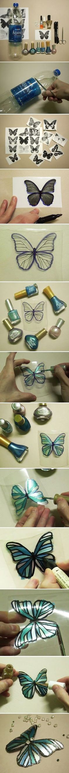 Make butterfly decorations using plastic bottles and nail polish.