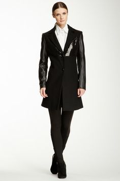 Sequin & Faux Leather Trim Wool Blend Coat by Sam Edelman on @HauteLook