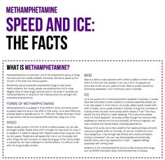 Methamphetamine (Speed and Ice) Drug Facts   Your Room   NSW Health. Get  the facts on methamphetamine including 'speed' and 'ice' – the short and long term effects on your body and life, interaction with other drugs, methamphetamine use during pregnancy, quitting, tolerance and dependence, withdrawal and more. #knowyourdrugfacts