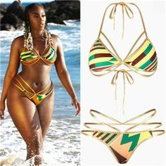 ae0038b06f African Style Women Bikini Set Bandage Push-Up Padded Triangle Beach  Swimsuit