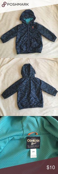 Boys Light Outdoor Jacket 24 month jacket with grey and navy tribal print and orange rocket logo. Light blue mesh on the inside. No tears or stains! OshKosh B'gosh Jackets & Coats