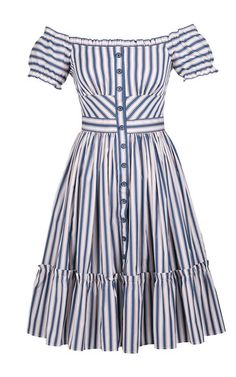 Shop Off The Shoulder Striped Skipper Dress. Rendered from cotton, this **Lena Hoschek** dress features an off the shoulder neckline and side seam pockets. Cotton Dresses, Cute Dresses, Vintage Dresses, Casual Dresses, Summer Dresses, Dress Outfits, Fashion Dresses, Look Fashion, Fashion Design
