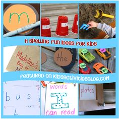 These 11 spelling ideas make spelling fun and games. All will sneak a little education into unsuspecting engaged participants. Spelling Activities, Alphabet Activities, Fun Activities For Kids, Classroom Activities, Spelling Ideas, Classroom Ideas, Fun Learning, Learning Activities, Inspired Learning