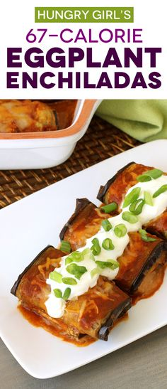 Bean Cheese Eggplant Enchiladas More Healthy Mexican Recipes Hungry Girl Healthy Mexican Recipes, Quick Vegetarian Meals, Ww Recipes, Cooking Recipes, Chinese Recipes, Egg Plant Recipes Healthy, Healthy Eggplant Recipes, Vegetarian Food, Pasta Recipes