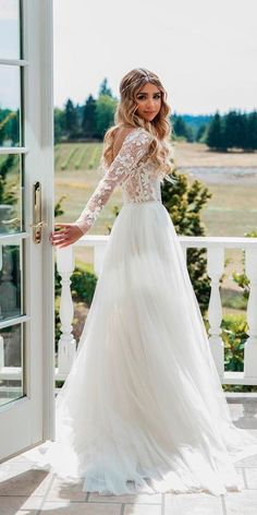 30 Cute Modest Wedding Dresses To Inspire ❤ modest wedding dresses a line open back with sleeves elegant miss hayley paige ❤ See more: http://www.weddingforward.com/modest-wedding-dresses/ #weddingforward #wedding #bride #modestweddingdresses