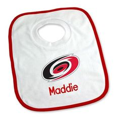 Keep your future NHL star clean with our Personalized Carolina Hurricanes Bib.  Young fans can show Hurricanes pride while protecting their clothes.