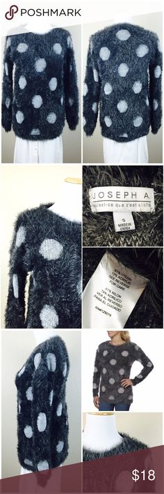 """Gray Fuzzy Polka Dot Sweater Joseph A. Quest Ce Que Cest Silk Fuzzy Polka Dot Sweater. Adorable style. Good Preowned condition. Size small. 81% nylon 19% Acrylic. Soft and fuzzy. Long sleeves. Length 27"""". Pit to Pit 18"""". Sleeve 18"""". Joseph A. Quest Ce Que Cest Silk  Sweaters"""