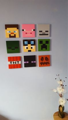 Minecraft wall art. Set of 9 canvases. Small 8 x 8. by Katzkanvas