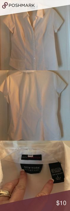 New York & Co white button down top short sleeve I have a black one too not listed if you are interested. Very nice top worn open with cami or without. Great piece to have in any wardrobe. New York & Company Tops Button Down Shirts