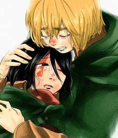 Cry Armin and hurt Mikasa