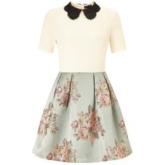 Sister Jane Contrast Dress (655 HRK) ❤ liked on Polyvore featuring dresses, lipsy dress, flower print dress, fitted dresses, white dress and floral fitted dress