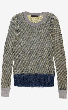 ALEXANDER WANG Gray, Yellow, White And Metallic Blue Sweater