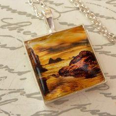» Edle Halskette in silber mit Sonnenuntergang Motiv