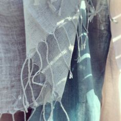 Handwoven linen French scarves from Heather Ross { natural eclectic }