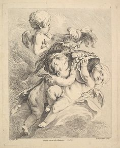 Three Cupids Holding a Helmet