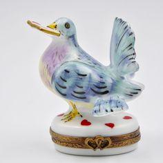 Limoges Love Letter Dove Pill Trinket Box Figural Hearts Hinged Porcelain France #Limoges #Figural