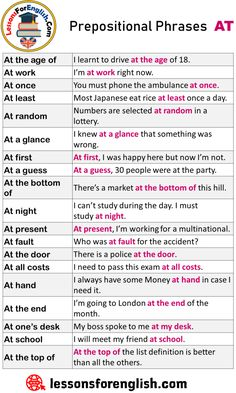English Prepositional Phrases AT, Example Sentences At the age of I learnt t. Teaching English Grammar, English Writing Skills, Grammar And Vocabulary, English Language Learning, English Vocabulary Words, Teaching Writing, English Lessons, Sentences In English, English Prepositions