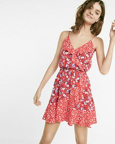 floral print ruffle surplice dress