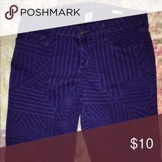 Purple geometric skinnies Darker purple with violet pattern shapes, skinny jeans Arizona Jean Company Jeans Skinny