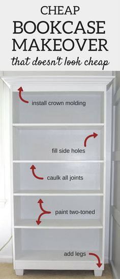A Brick Home: DIY cheap Bookcase Makeover, bookcase ideas, how to upcycle bookcase, diy bookshelves makeover tutorial