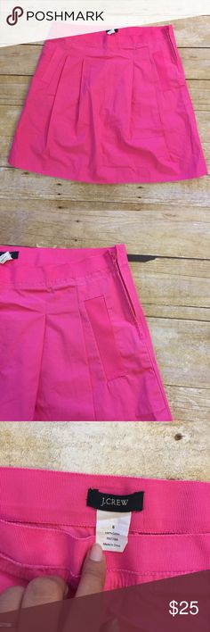 Pink J. Crew Skirt Pink skirt with grosgrain detail at pockets and waist. Slightly pleated in front. J. Crew Skirts A-Line or Full